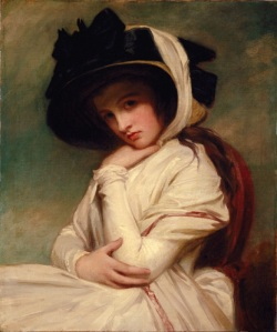 George Romney (1734-1802)  English portrait painter - Emma Hart in a Straw Hat
