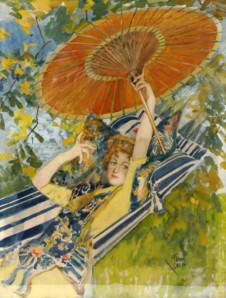 FRANK SNAPP - Amer. 1872-1936 gouache on paper Lady with Parasol